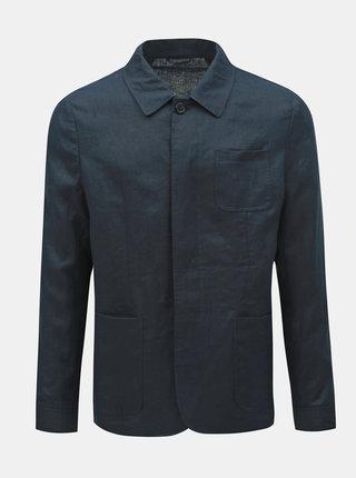 Tmavě modrá lněná lehká bunda s kapsami Selected Homme