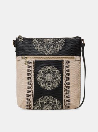 Čierno–béžová vzorovaná crossbody kabelka Desigual Lady Kaua