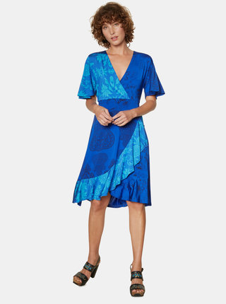 Modré vzorované šaty s volánem Desigual Fedra