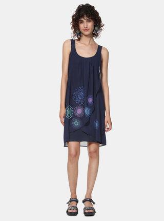 Tmavě modré vzorované šaty Desigual Graciela