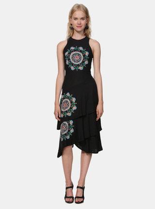 Černé šaty s výšivkou Desigual Chelsea