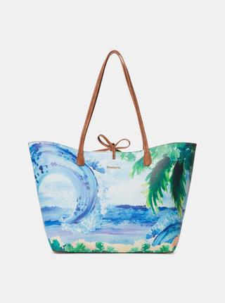 Modrá vzorovaná obojstranná kabelka 2v1 Desigual Landscape Ocean