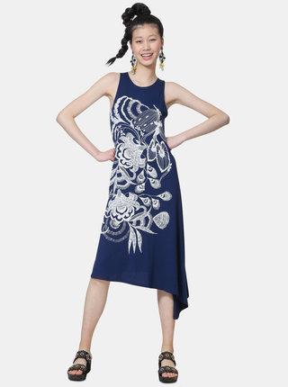 Tmavě modré asymetrické šaty s potiskem Desigual Wakiut