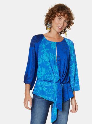Bluza albastra cu model si decupaje Desigual Liana
