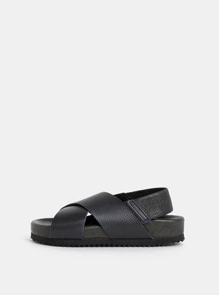 Sandale negre din piele Selected Femme Elf