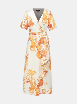 Rochie maxi oranj-alb cu model si volane Dorothy Perkins