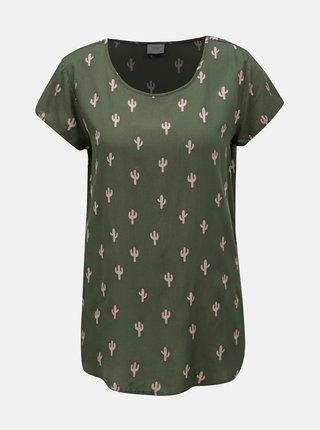 Zelené vzorované tričko Jacqueline de Yong Marli