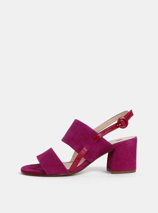 Fialové semišové sandálky na širokém podpatku Högl