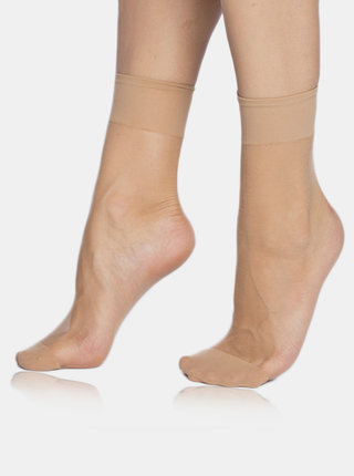 Sada pěti párů béžových ponožek Bellinda Fly 15 DEN