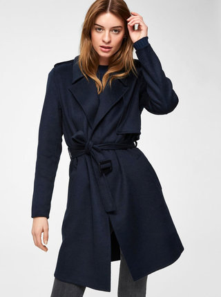 Tmavomodrý vlnený kabát Selected Femme Tana