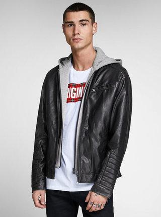 Černá koženková bunda s odnímatelnou částí Jack & Jones Chris