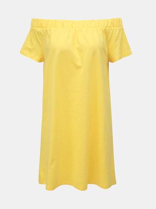 Žluté šaty s odhalenými rameny VERO MODA Alzia