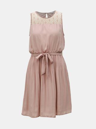 Starorůžové šaty s plisovanou sukní ONLY Carolina