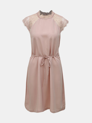 Starorůžové šaty s krajkou ONLY Lunu