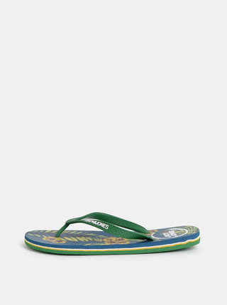 Papuci flip-flop barbatesti verzi cu model Jack & Jones Tropical