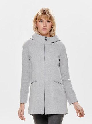Světle šedý žíhaný lehký kabát ONLY Nala