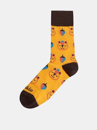 Žluté dámské vzorované ponožky Fusakle Brum