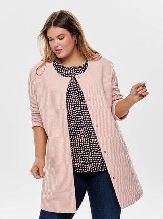 Ružový rebrovaný tenký kabát ONLY CARMACOMA Toronto