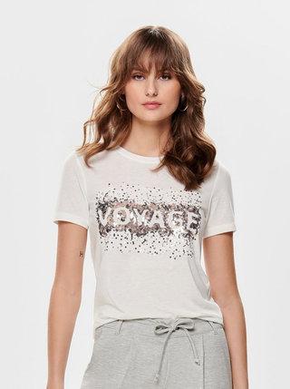 Krémové tričko s flitrami a prímesou ľanu ONLY Lina