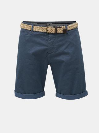 Pantaloni scurti albastru inchis regular fit cu model si curea Jack & Jones Lorenzo