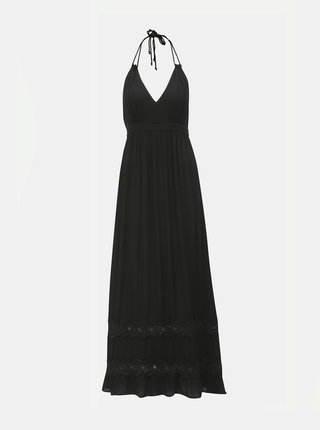 Čierne maxišaty s odhaleným chrbátom Miss Selfridge