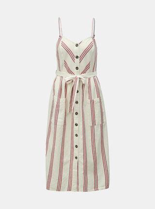 Krémové pruhované šaty s prímesou ľanu Miss Selfridge