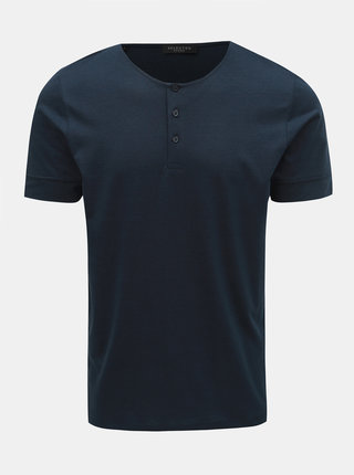 Tricou albastru inchis Selected Homme Amos