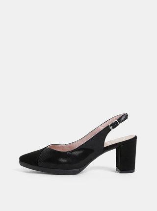 Pantofi negri cu aspect de piele intoarsa OJJU Monaco