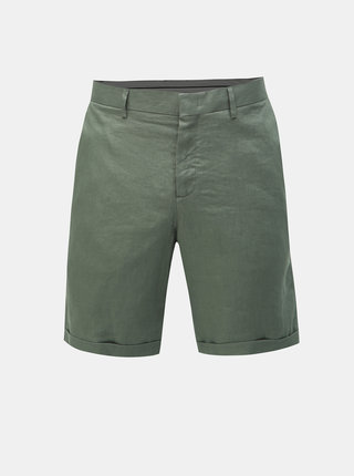 Zelené ľanové chino kraťasy Selected Homme Tapered