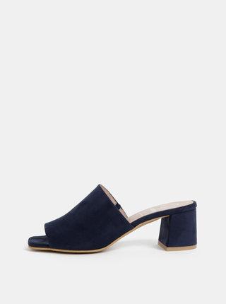Tmavě modré pantofle na podpatku v semišové úpravě OJJU Nantes