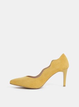Pantofi mustar cu aspect de piele intoarsa OJJU Madrid