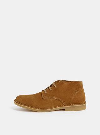 Hnedé pánske semišové členkové topánky Selected Homme Royce