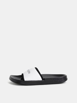 Papuci negru-alb Calvin Klein Underwear