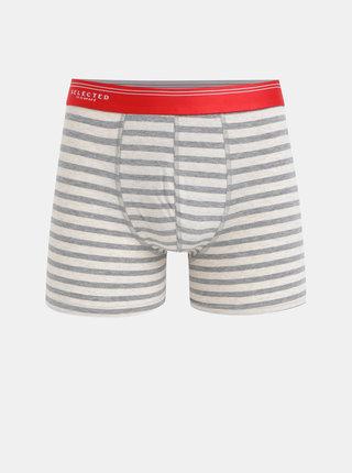Sivo–béžové pruhované boxerky Selected Homme Classic