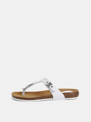 Papuci flip-flop albi de dama din piele Scholl Bimini