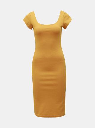 Hořčicové pouzdrové basic šaty ZOOT