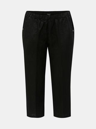 Černé lněné 3/4 kalhoty Ulla Popken