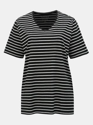 Tricou basic negru in dungi cu taieturi Ulla Popken