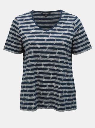 Tmavě modré vzorované tričko Ulla Popken