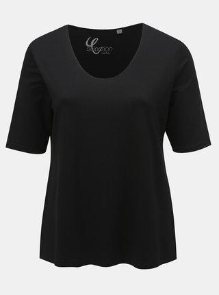 Tricou basic negru Ulla Popken