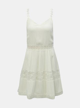 Biele šaty na ramienka s čipkovanými detailmi ONLY Karmen Anne