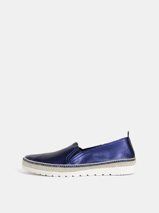 Pantofi slip on albastru inchis din piele cu aspect metalic OJJU