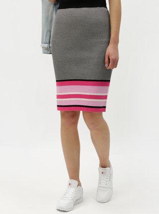 Ružovo–sivá vzorovaná puzdrová sukňa ONLY Sigrid