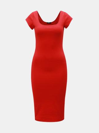 Červené pouzdrové basic šaty s kulatým výstřihem ZOOT