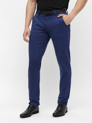 Pantaloni albastru inchis chino cu curea Lindbergh
