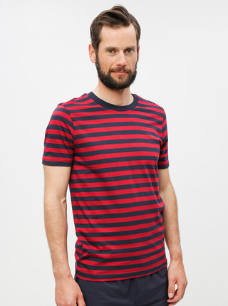 Tricou basic rosu-albastru in dungi Selected Homme