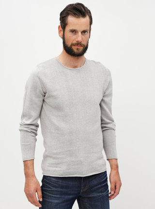 Pulover gri deschis din in Jack & Jones Linen