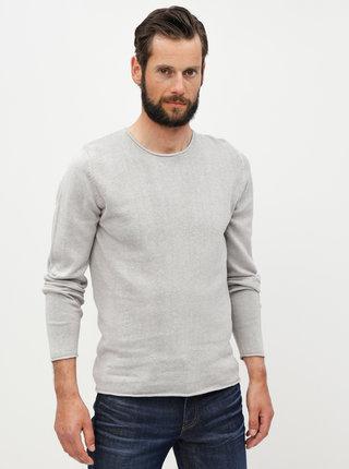 Světle šedý lněný basic svetr Jack & Jones Linen