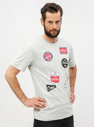 Sivé melírované regular fit tričko s potlačou ONLY & SONS Fresh Coca Cola