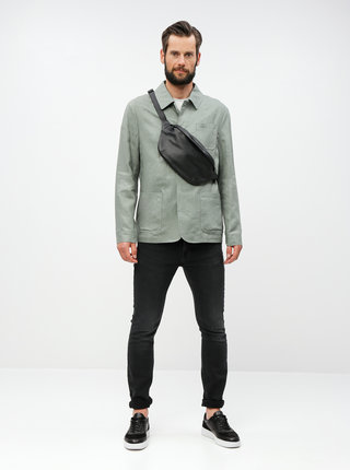 Zelená ľanová tenká bunda s vreckami Selected Homme
